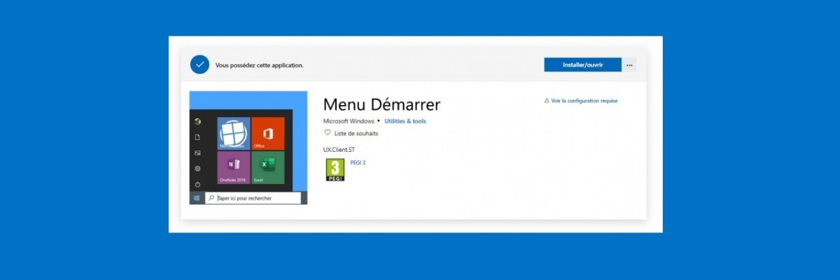 Le Menu Démarrer, bientôt mis à jour depuis le Microsoft Store ?