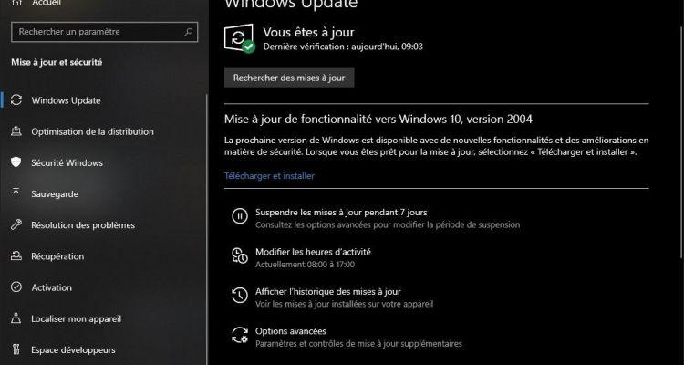 La mise à jour de fonctionnalité vers Windows 10, version 2004, est dispo !