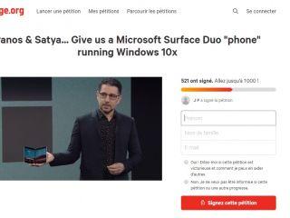 Surface Duo : une pétition pour qu'il soit disponible sous Windows 10X