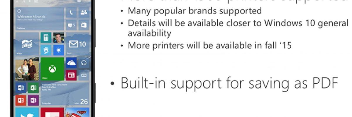 Microsoft liste les imprimantes compatibles avec Windows 10 Mobile