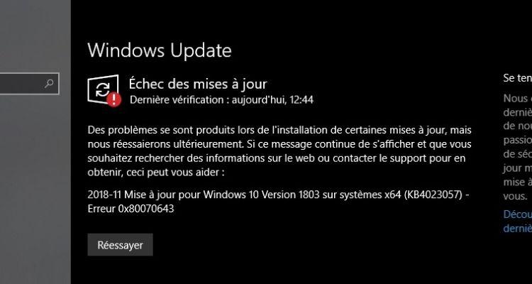 Mise à jour KB4023057 : résoudre l'erreur 0x80070643 sur Windows 10