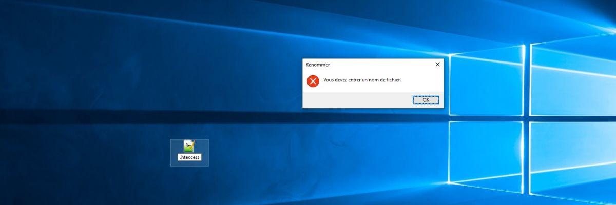 Créer un fichier .htaccess depuis l'explorateur Windows 10 sera enfin possible !
