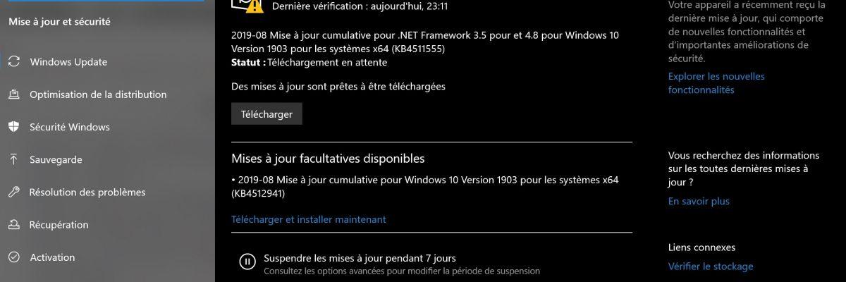 KB4512941 : Microsoft reconnait le bug de surconsommation du CPU (SearchUI.exe)
