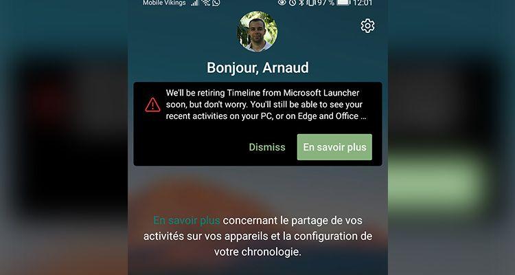 La Timeline sur Microsoft Launcher (Android), c'est bientôt fini !