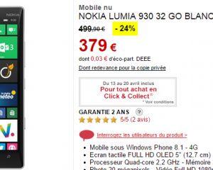 [Bon plan] Le Nokia Lumia 930 à 374€ chez Darty