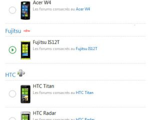 Ouverture des forums Acer W4, HTC Titan, HTC Radar & Fujistsu IS12T