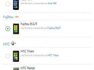 Ouverture des forums Acer W4, HTC Titan, HTC Radar & Fujistsu IS12T