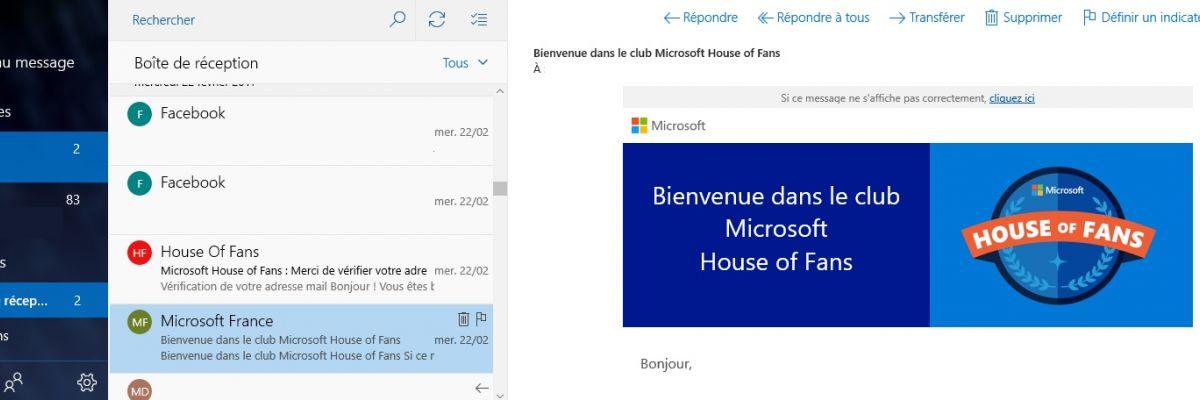 Mise à jour de l'application Courrier et Calendrier pour Windows 10 et Mobile