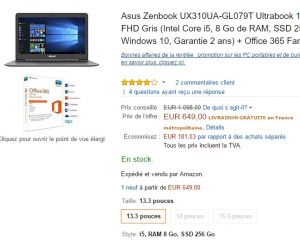 [Ultra bon plan] l'Asus Zenbook UX310UA avec 41% de réduction sur Amazon !