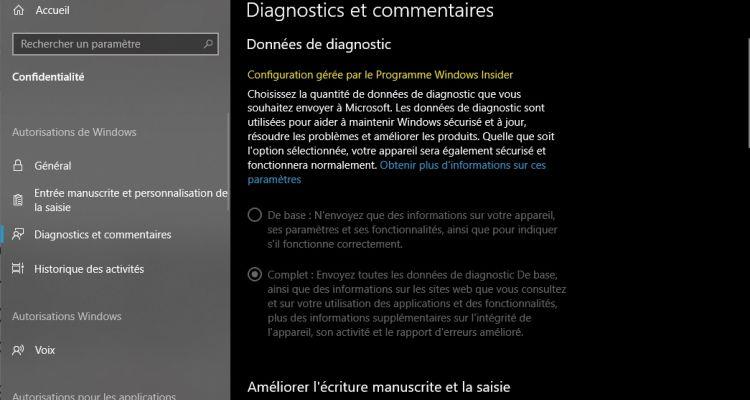Windows 10 : comment contrôler les données de diagnostic envoyées à Microsoft ?
