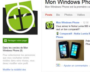 MonWindowsPhone a sa page Google Plus