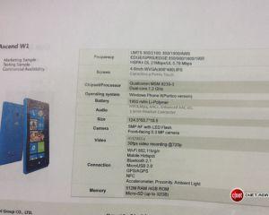 [MAJ] Le Huawei Ascend W1 officialisé / un WP8 de 6,1 pouces à venir ?