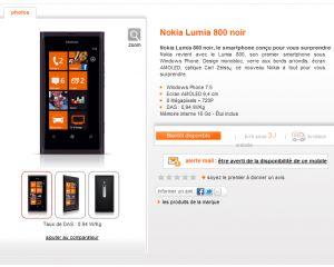 Le Nokia Lumia 800 disponible chez Orange et bientôt Bouygues [MAJ4]