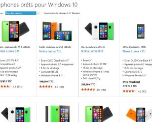 """Des smartphones """"Windows 10 ready"""" mis en avant sur le Microsoft Store"""