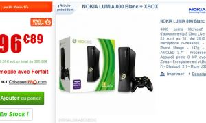 Nokia Lumia 800 blanc + Xbox 360 pour seulement 396.89€ chez Cdiscount