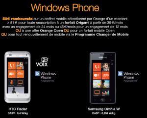 Offre de remboursement de 50€ sur les HTC Radar et Omnia W chez Orange