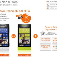 Le HTC Windows Phone 8S à 1€ chez Orange jusqu'au 24 janvier