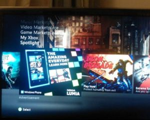 Une publicité pour le Lumia 800 dans le Dashboard de la Xbox 360