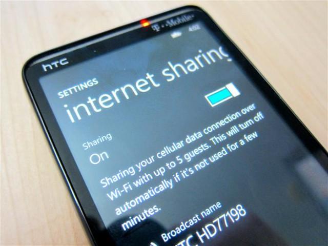partage de connexion htc windows phone