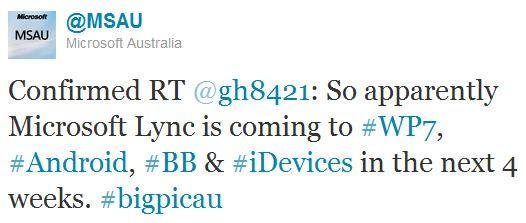 tweet ms australie lync mobile