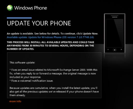 mise à jour 7740 windows phone