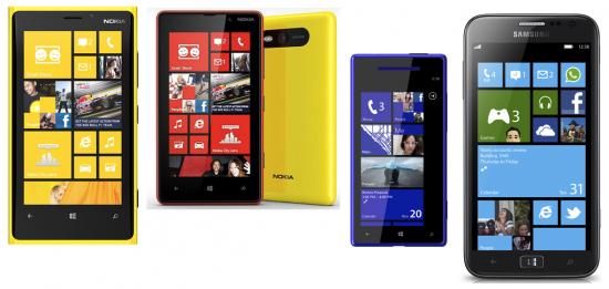 Windows Phone 8 : (de gauche à droite) Lumia 920, Lumia 820, (supposé) HTC 8X, ATIV S