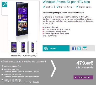 le htc windows phone 8x disponible chez sosh et chez orange monwindows. Black Bedroom Furniture Sets. Home Design Ideas