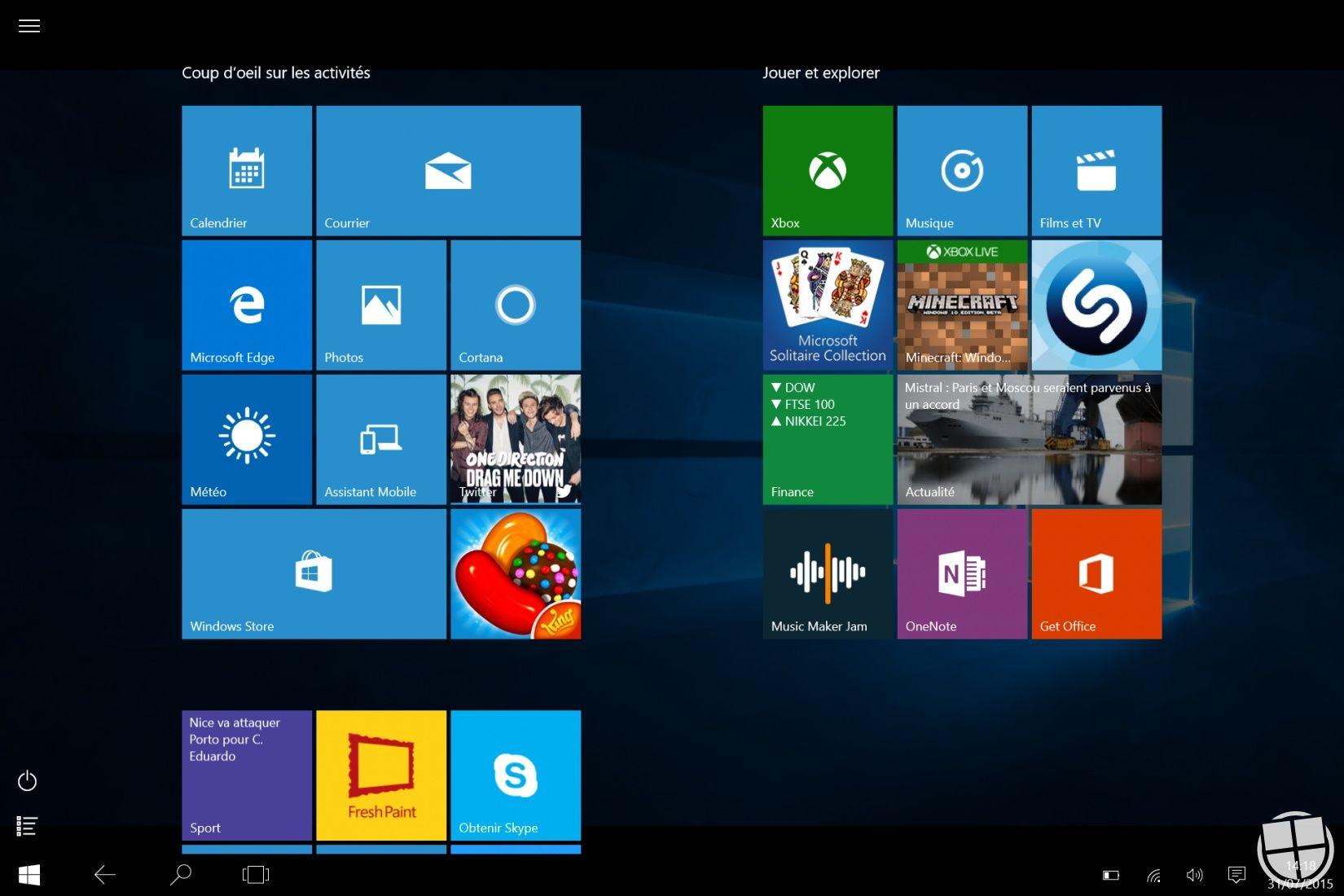 Windows 10 analyse du nouveau mode tablette monwindows for Bureau 3d windows 10