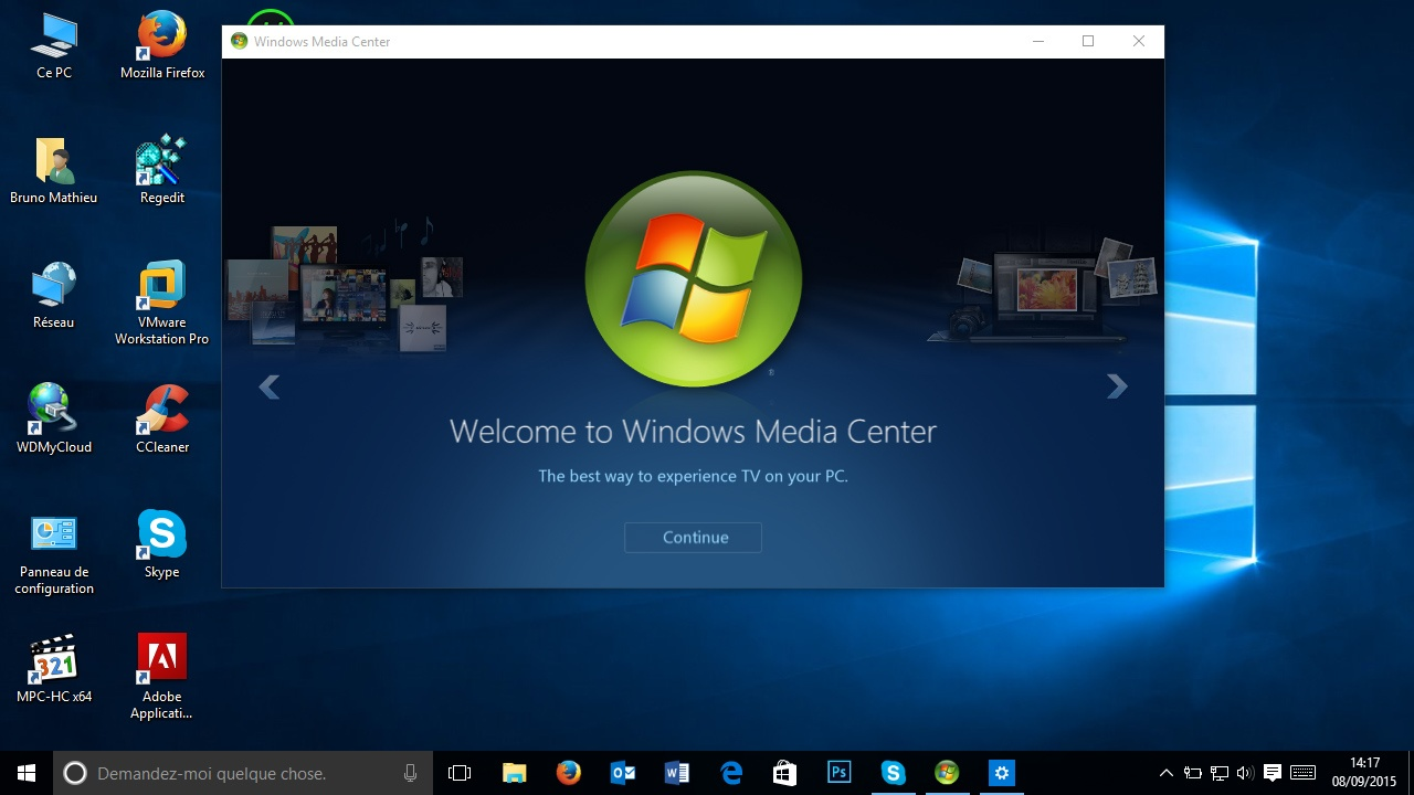 how to open windows media center