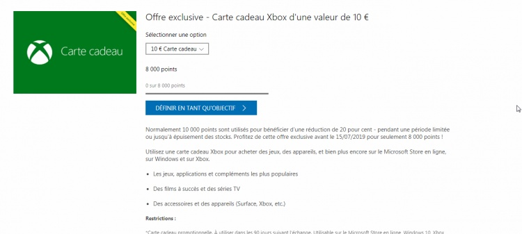 Microsoft Rewards : 20% de réduction à