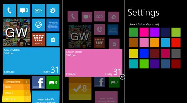 Interface de Windows Phone 8 proposée par l'application W Phone 8
