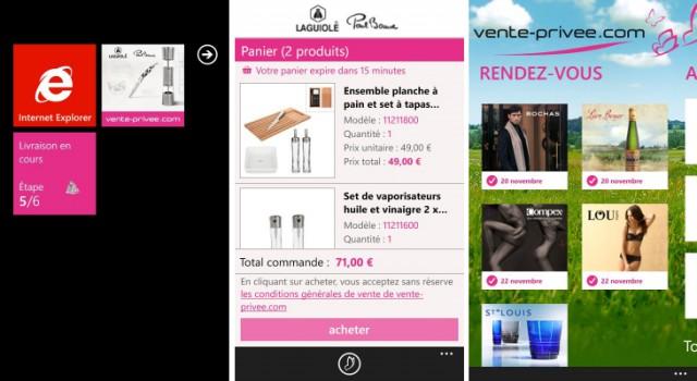Captures d'écran de l'application Vente-privee.com sur Windows Phone
